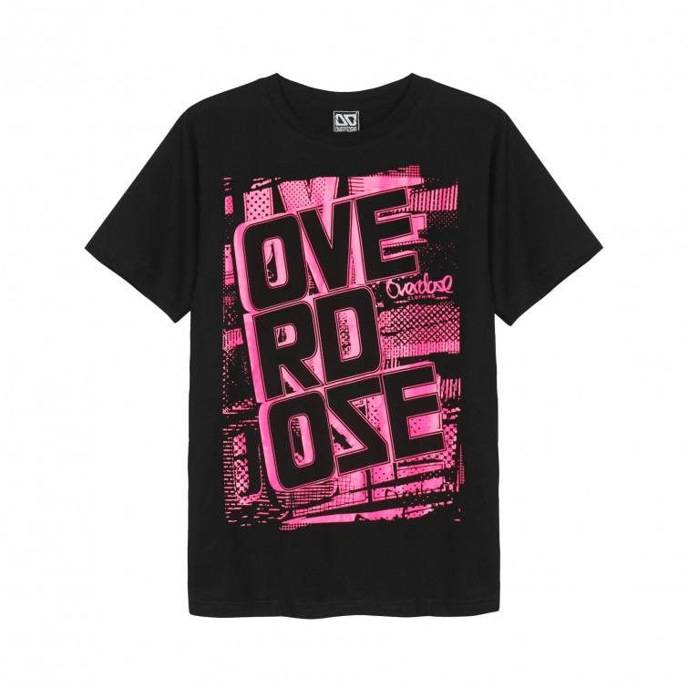 Áo thun OverDose Thái Lan màu đen in chữ OverDose trên nền hồng đậm T0044