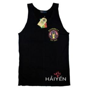 Áo thun OverDose Thái Lan kiểu sát nách màu đen in logo nữ hoàng Ai Cập trên ngực trái TKT005