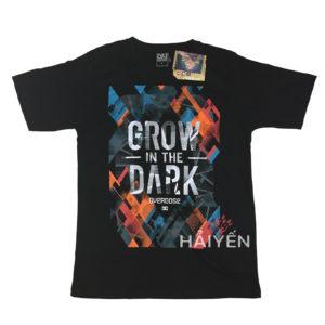 Áo thun OverDose Thái Lan màu đen in chữ Grow in The Dark trên nền cam xanh T0018