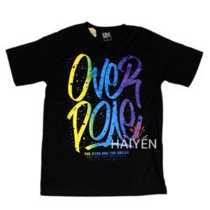 Áo thun OverDose Thái Lan màu đen in chữ OverDose kiểu tuyết rơi vàng xanh tím T0045