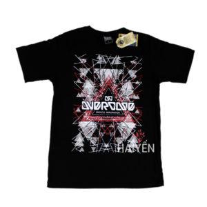 Áo thun OverDose Thái Lan màu đen in chữ OverDose trắng trên nền tam giác đỏ trắng T0035