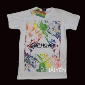 Áo thun Thái Lan màu trắng in chữ Euphoria trên nền đủ màu T0014