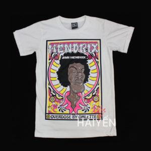 Áo thun Thái Lan màu trắng in nghệ sĩ Hendrix T0022
