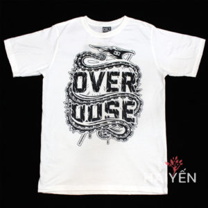 Áo thun Thái Lan màu trắng in vòi mực ôm chữ OverDose T0001