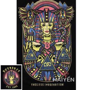 Logo Mặt sau Áo thun OverDose Thái Lan 3 lỗ màu đen in logo nữ hoàng Ai Cập - TKT005