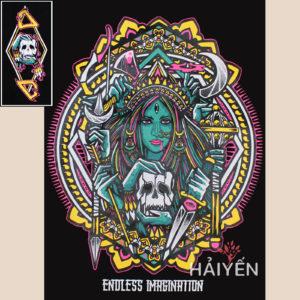 Logo Mặt sau Áo thun OverDose Thái Lan 3 lỗ màu đen in nữ phù thủy - TKT002