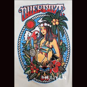 Logo Áo thun Thái Lan màu trắng in cô gái Hawaii nhảy múa T0021-1
