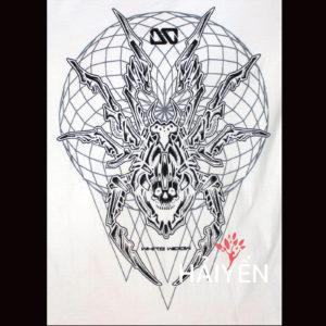Logo Áo thun OverDose Thái Lan màu trắng in hình con nhện mặt quỷ T0021