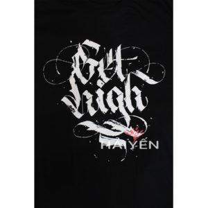 Logo Áo thun OverDose Thái Lan màu đen in chữ Get High kiểu Graffiti T0046