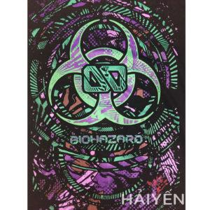 Logo Áo thun OverDose Thái Lan màu đen in biểu tượng Biohazard xanh lá tím T0049