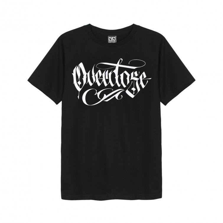 Áo thun OverDose Thái Lan màu đen in chữ OverDose trắng kiểu Graffiti T0048