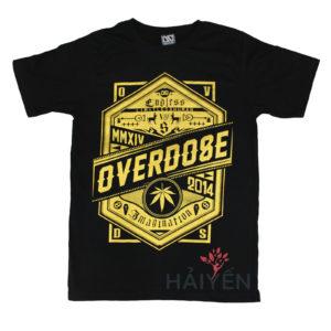 Áo thun OverDose Thái Lan màu đen in chữ OverDose trên khiêng nhũ vàng T0114