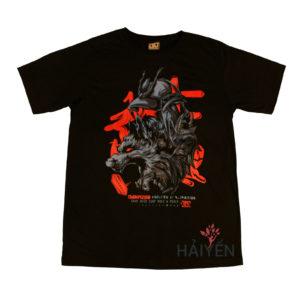 Áo thun OverDose Thái Lan màu đen in hình đầu sói đội mũ Samurai T0103