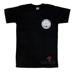 Áo thun OverDose Thái Lan màu đen in hình tam giác có mắt trong hình tròn trên ngực trái T0113