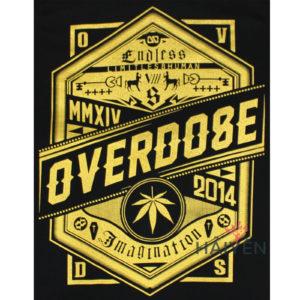 Logo Áo thun OverDose Thái Lan màu đen in chữ OverDose trên khiêng nhũ vàng T0114