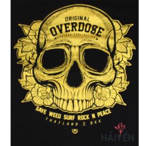 Logo Áo thun OverDose Thái Lan màu đen in hình đầu sọ nhũ vàng kim T0105