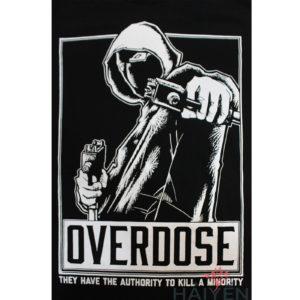 Logo Áo thun OverDose Thái Lan màu đen in hình mafia mặc áo khoác T0098