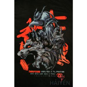Logo Áo thun OverDose Thái Lan màu đen in hình đầu sói đội mũ Samurai T0103
