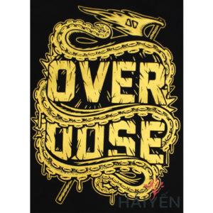 Logo Áo thun OverDose Thái Lan màu đen in con rồng cuộn quanh chữ OverDose nhũ vàng T0101
