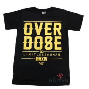 Áo thun OverDose Thái Lan màu đen in chữ OverDose nhũ vàng T0119