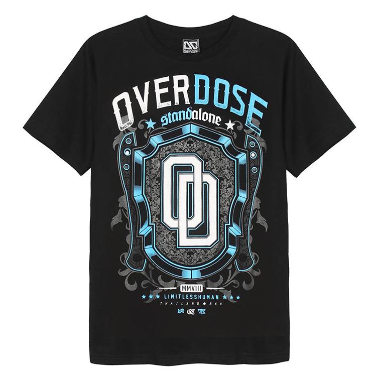 Áo thun OverDose Thái Lan màu đen in logo OD trên chiếc khiên xanh dương T0087
