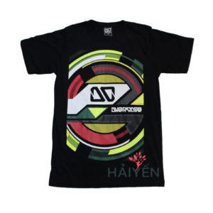 Áo thun OverDose Thái Lan màu đen in logo OD trên nền tròn nhiều màu sắc T0072