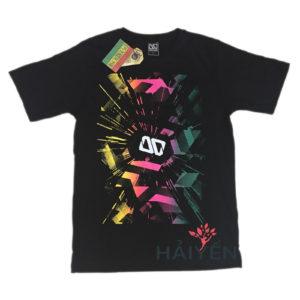 Áo thun OverDose Thái Lan màu đen in logo OD trắng trên nền vàng hồng xanh T0026