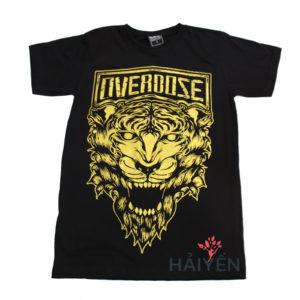 Áo thun OverDose Thái Lan màu đen in mặt sư tử gầm nhũ vàng T0086