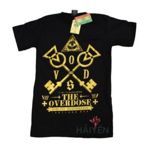 Áo thun OverDose Thái Lan màu đen in cặp chìa khóa vàng T0074