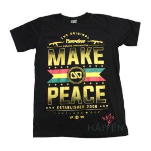 Áo thun OverDose Thái Lan màu đen in chữ Make Peace nhũ vàng với cờ Bolivia T0095