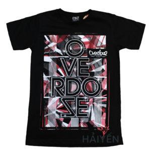 Áo thun OverDose Thái Lan màu đen in họa tiết sọc đỏ trắng xám T0097