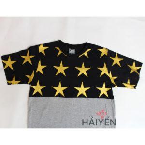 Áo thun OverDose Thái Lan màu bạc phối nửa trên in ngôi sao vàng trên nền đen T0060 - 1