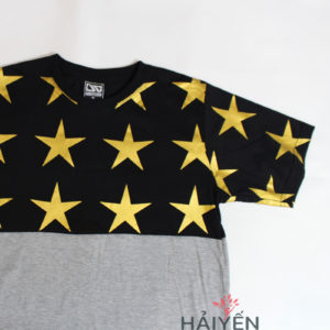 Áo thun OverDose Thái Lan màu bạc phối nửa trên in ngôi sao vàng trên nền đen T0060