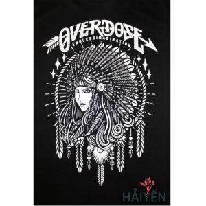 Logo Áo thun OverDose Thái Lan màu đen in cô gái thổ dân đội nón lông vũ trắng T0009
