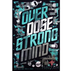 Logo Áo thun OverDose Thái Lan màu đen in chữ OverDose Strong Mind trên nền họa tiết xanh trắng xám T0084