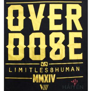 Logo Áo thun OverDose Thái Lan màu đen in chữ OverDose nhũ vàng T0119