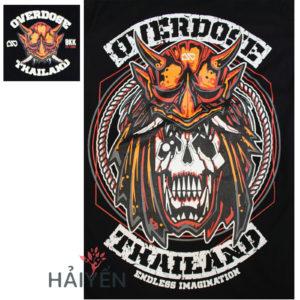 Logo Áo thun OverDose Thái Lan màu đen in tưởng samurai đeo mặt nạ quỷ T0065