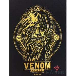 Logo Áo thun OverDose Thái Lan màu đen in xác ướp Venom nhũ vàng T0011