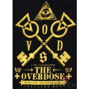 Logo Áo thun OverDose Thái Lan màu đen in cặp chìa khóa vàng T0074