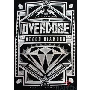 Logo Áo thun OverDose Thái Lan màu đen in viên kim cương khắc chữ Blood Diamond T0096
