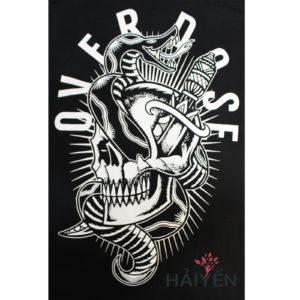 Logo Áo thun OverDose Thái Lan màu đen in con rắn quấn quanh sọ người T0091