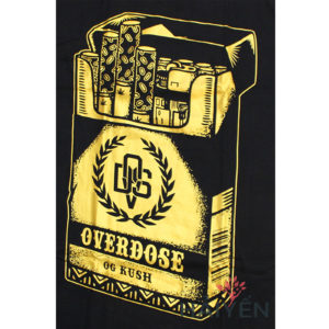 Logo Áo thun OverDose Thái Lan màu đen in gói thuốc nhũ vàng T0075