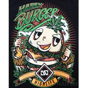 Logo Áo thun OverDose Thái Lan màu đen in hình bánh hamburger cười T0081