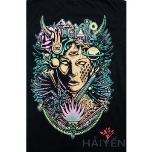 Logo Mặt sau Áo thun OverDose Thái Lan màu đen in nữ thần rừng T0079 (1)