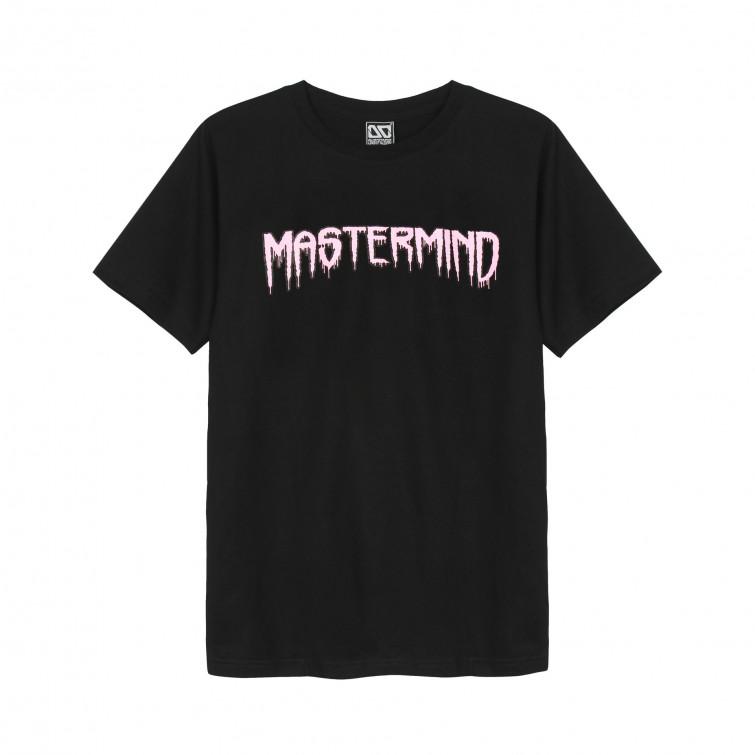 Áo thun OverDose Thái Lan màu đen in chữ MasterMind hồng dạ quang T0079
