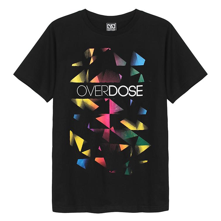 Áo thun Overdose màu đen in 3D nhiều tam giác nhỏ bảy màu T0053