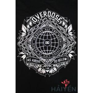 Logo Áo thun Thái Lan màu đen in 3D hình quả địa cầu cùng dòng chữ As Above So Below T0047