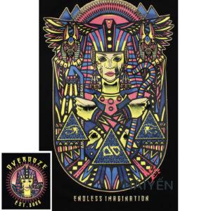 Logo Áo thun Thái Lan màu đen in 3D mặt nữ hoàng Ai Cập và vị thần chó Anubis T0008