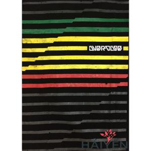Logo Áo thun Thái Lan màu đen in 3D sọc ngang nhỏ màu xám xanh lá vàng đỏ T0054