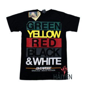 Áo thun Thái Lan đen in 3D 5 màu Green Yellow Red Black White T0129